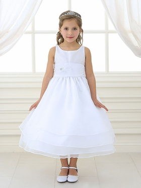 White 3-Tier Organza Dress with Pin on Flower