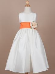 Orange Sash Flower Girl Dress