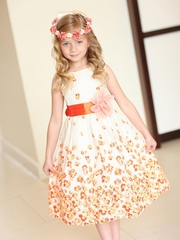 Orange Summer Floral Cotton Dress