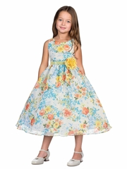 Organza Floral Dress with Satin Sash & Pin on Flower