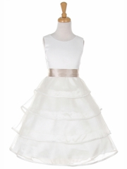 Organza Layered Dress with Low Skirt