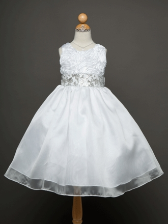 Organza Overlay Flower Girl Dress with beaded waist band
