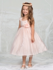 Peach Soft Tulle Flower Girl Dress