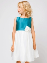 Peacock Color Block Satin Flower Girl  Dress