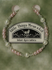 Pearl and Pink Silver Bracelet for Christening