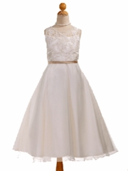 Pearl Beaded A-Line Flower Girl Dress with Contrast Sash