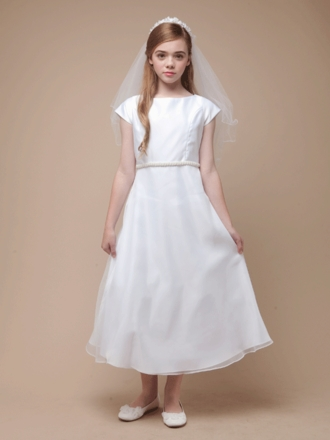 Pearl Belt Satin and Organza A-Line Communion Dress