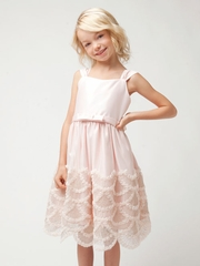 Petal Pink Rosette & Cord Embroidered Dress