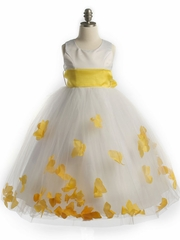 Petal Satin and Tulle Dress with Organza Sash
