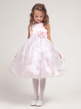 Pink Cristal Organza Overlay Flower Girl Dress