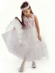 Pink Elegant Tulle Dress with Lace Applique