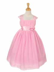 Pink Flower Girl Dress with Gathered Top