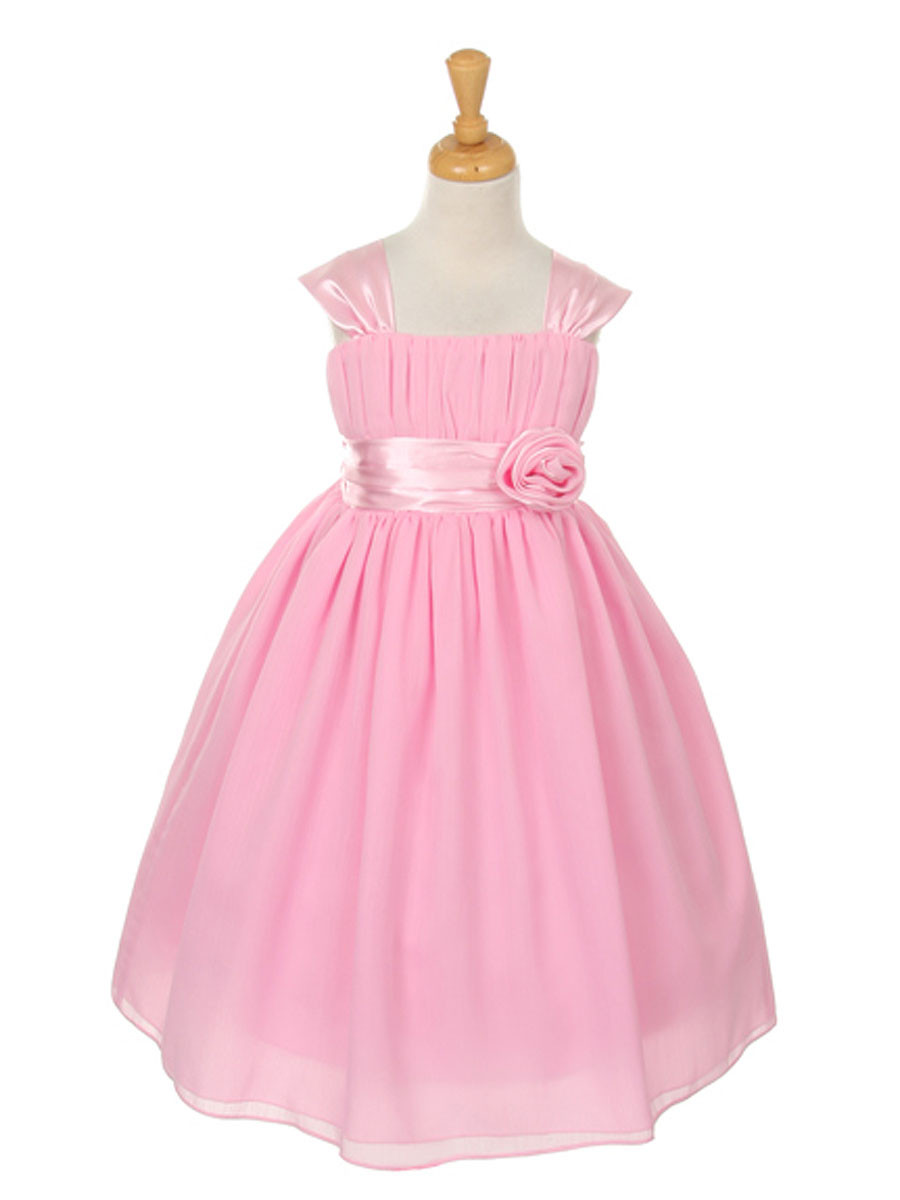 Pink Flower Girl Dress With Gathered Top Junior