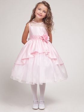 Pink Princess Overlay Flower Girl Dress