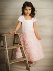 Pink Rosette Skirt Flower Girl Dress