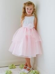 Pink Satin and Organza Overlay Flower Girl Dress