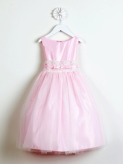 Pink Satin With Metallic Lace Dress