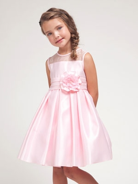 Pink Silk Satin Gather Skirt Flower Girl Dress