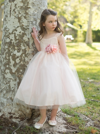BLUSH FLOWER GIRL DRESS - Sanmaz Kones