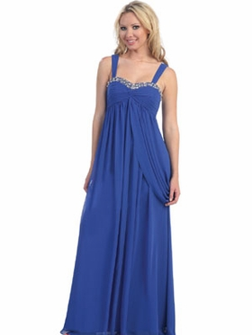 Pleated Bodice & Overlay Chiffon Long Dress