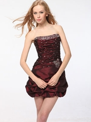 Pleated Bustling Short Party Dress