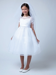 Pleated Organza Top With Sweetheart Neckline Dress