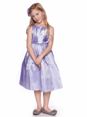 Pleated Solid Taffeta Sleeveless Flower Girl Dress