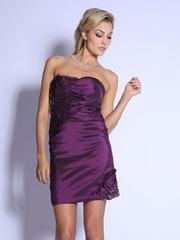 Pleating Accented Short Homecoming Dress