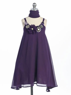 Plum Gem-Stoned Accented Chiffon Girl Dress