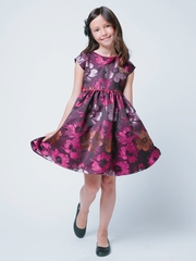 Plum Large Floral Embroidered Brocade Dress