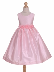 Pink Poly Dupioni Flower Girl Dress