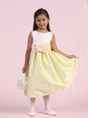 Poly Dupioni Flower Girl Dress with Three Flower pins