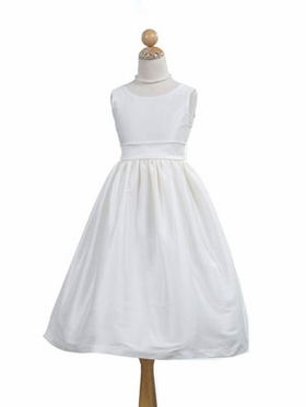 Poly Dupioni V-Back Communion Dress