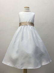 Poly-Shantung Flower Girl Dress with Sequin Sash