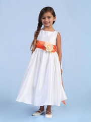 Shantung Silk Flower Girl Dress in Orange