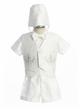 Poly Shantung Silk Short Boy Christening Gown