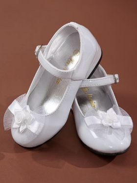 Pretty Floral Accented Flower Girl shoes