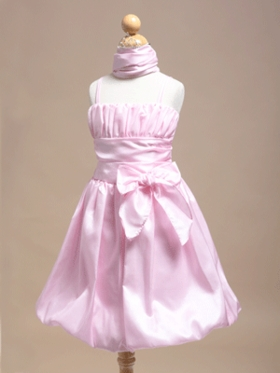 Pretty Pink Summer Bubble Skirt Flower Girl Dress