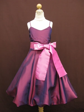 Pretty Plum Bubble Hemming Flower Girl Dress