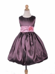 Pretty Plum Bubble Taffeta Flower Girl Dress