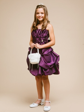 Pretty Purple Bubble Taffeta Girl Dress with Accented Bow