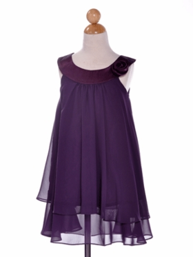 Pretty Purple Double Layered Flower Girl Dress