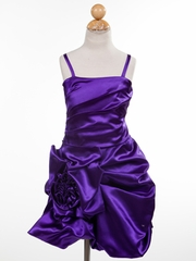 Pretty Purple Rose Accented Short Flower Girl Dress