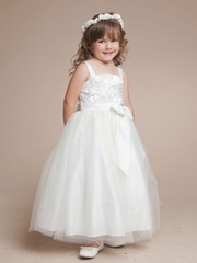 Princess Satin and Tulle  Flower Girl Dress with Rosette Accented Bodice