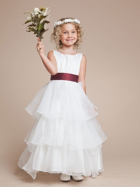 Princess Satin Flower Girl Dress with Multi Tiered Organza Skirt