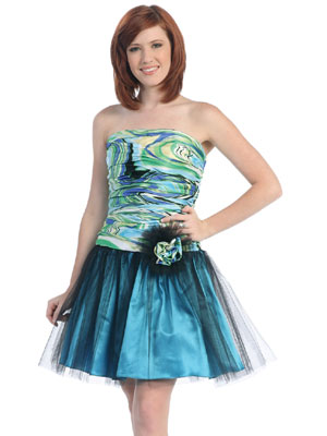 Printed Bodice w/Tulle Short Prom Dress