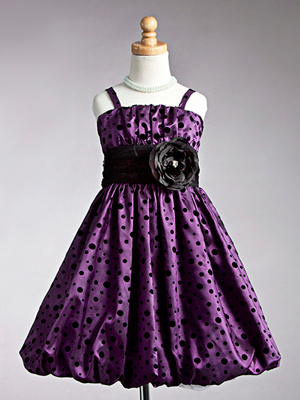 Purple Dot Bubble Hem Flower Girl Dress