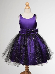 Purple Satin With Tulle Junior Bridesmaid Dress
