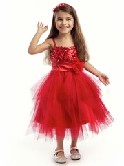 Red Asymmetrical Tulle Graduation Dress