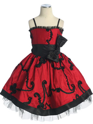 Red Floral Embroidered Flower Girl Dress